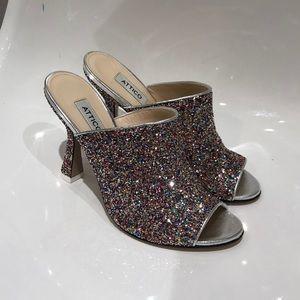 "NIB Attico ""Pamela"" Glitter Leather 4"" mule. Sz 9"
